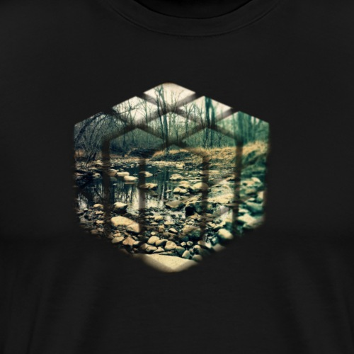 Cube Vintage Running Water Nature Photo - Men's Premium T-Shirt