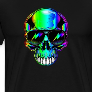 edm neon Skull with lightning bolts in sunglasses - Men's Premium T-Shirt