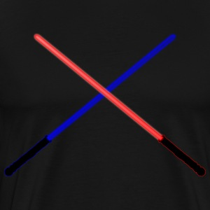 Blue and Red Lightsabers Clashing - Men's Premium T-Shirt