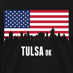 American Flag Tulsa Skyline - Men's Premium T-Shirt