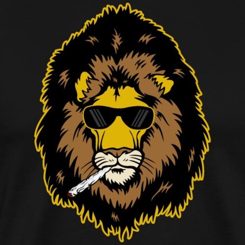 Lion Smoking Weed - Men's Premium T-Shirt