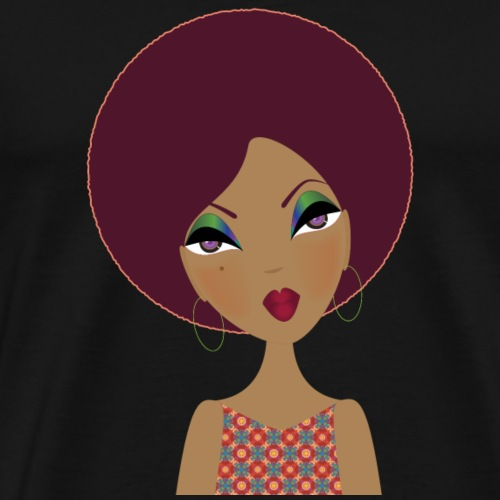 Young Lady with Afro - Men's Premium T-Shirt