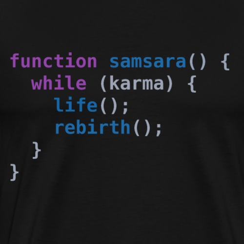 Funny T-Shirt: Samsara in JavaScript | Programmer - Men's Premium T-Shirt
