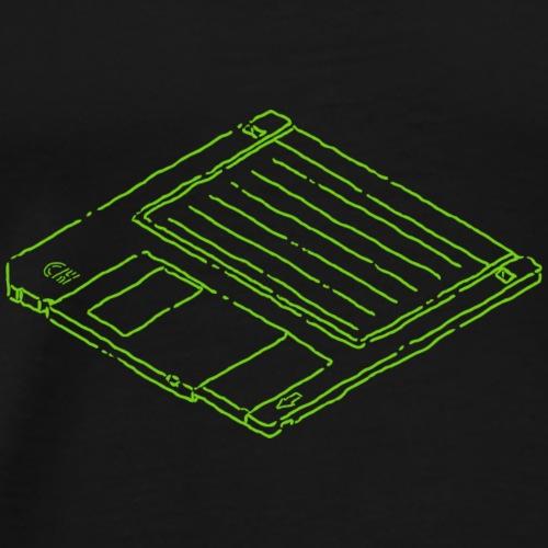 3 1/2 Floppy Disk - Green - Men's Premium T-Shirt