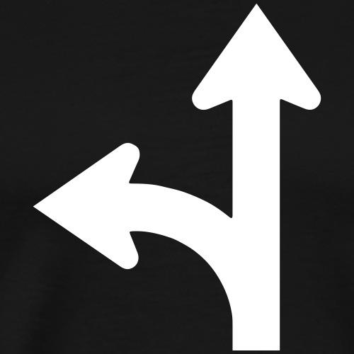Road signs series - go straight or left - Men's Premium T-Shirt