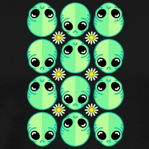 Sad Alien and Daisy Nineties Grunge Pattern - Men's Premium T-Shirt