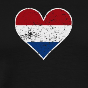Distressed Dutch Flag Heart - Men's Premium T-Shirt