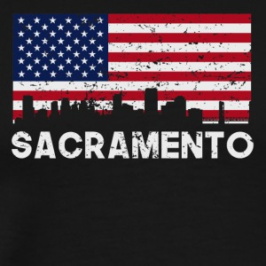 Sacramento CA American Flag Skyline Distressed - Men's Premium T-Shirt