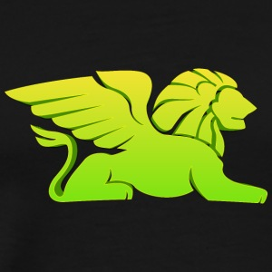 laying_lion_with_wings_green - Men's Premium T-Shirt