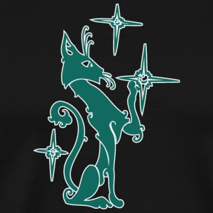 Dark_green_cat_playing_with_stars - Men's Premium T-Shirt