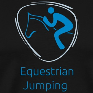 Equestrian_jumping_blue - Men's Premium T-Shirt