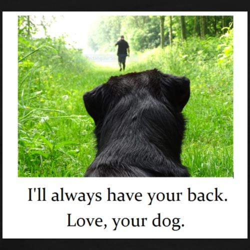 Black dog watching owner walk down path - Men's Premium T-Shirt