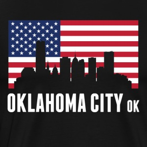 American Flag Oklahoma City Skyline - Men's Premium T-Shirt