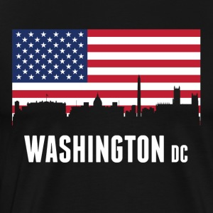 American Flag Washington DC Skyline - Men's Premium T-Shirt