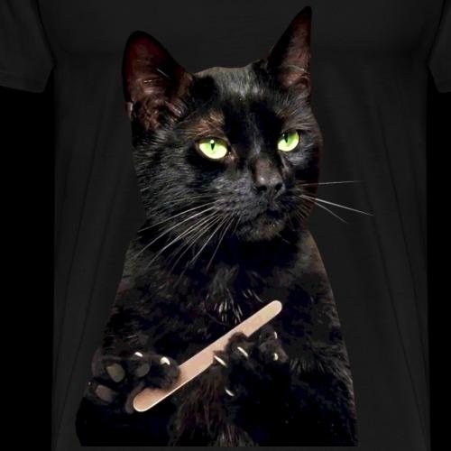 Nonplussed Black Cat Filing Nails - Men's Premium T-Shirt