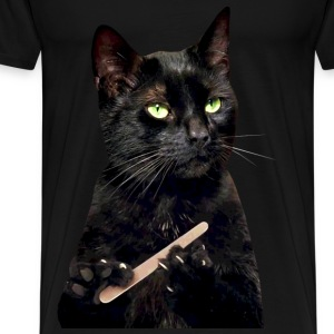 Nonplussed Black Cat Filing Nails - Men's Premium T-Shirt