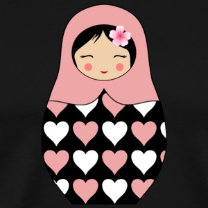Rose Matryoshka doll with hearts - Men's Premium T-Shirt