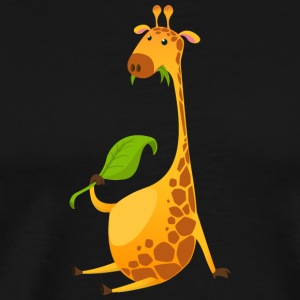 giraffe-chewing-on-a-leaf - Men's Premium T-Shirt
