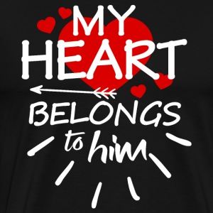 My heart belongs to him (white text) - Men's Premium T-Shirt