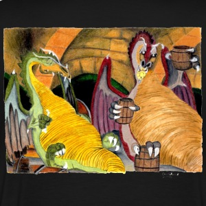 dragons drinking hand drawn - Men's Premium T-Shirt