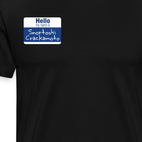 Snortoshi Crakamoto Name Tag Bitcoin Creator - Men's Premium T-Shirt