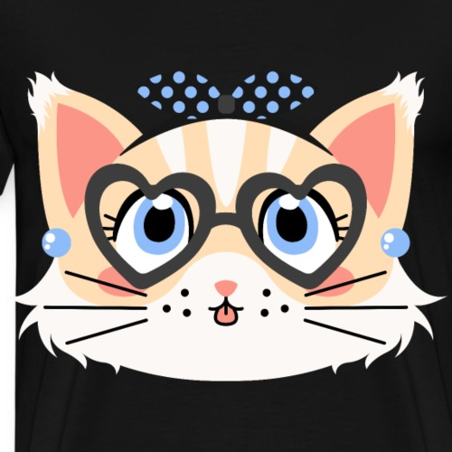 Retro Pin-up Cat with Heart Glasses and Dotted Bow - Men's Premium T-Shirt