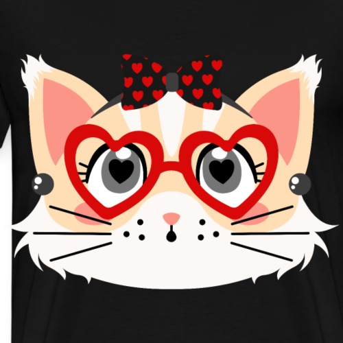 Lovely Rockabilly Cat with Heart Shaped Pupil Eyes - Men's Premium T-Shirt