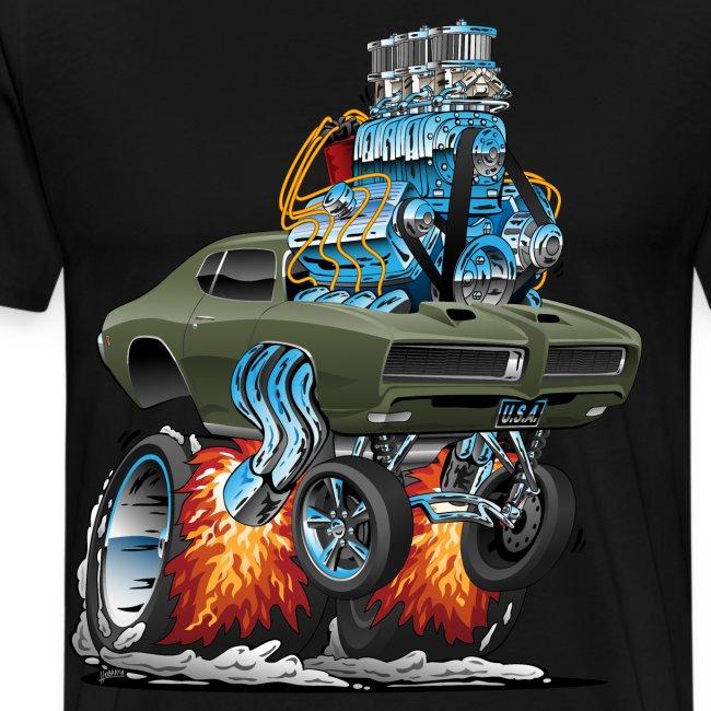 Classic American Muscle Car Hot Rod Cartoon