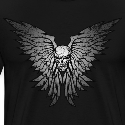Classic Distressed Skull Wings Illustration - Men's Premium T-Shirt