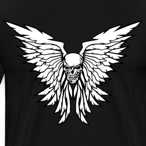 Classic Old School Skull Wings Illustration - Men's Premium T-Shirt