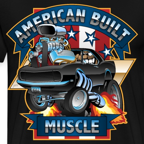 American Built Muscle - Classic Muscle Car Cartoon - Men's Premium T-Shirt