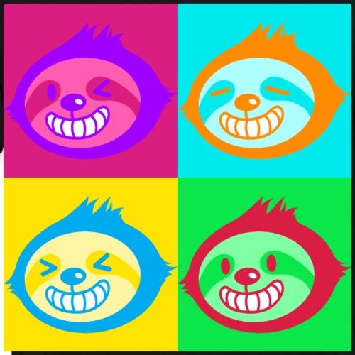 Crazy Fun Sloth Faces in Vivid Color Pop Art Style - Men's Premium T-Shirt
