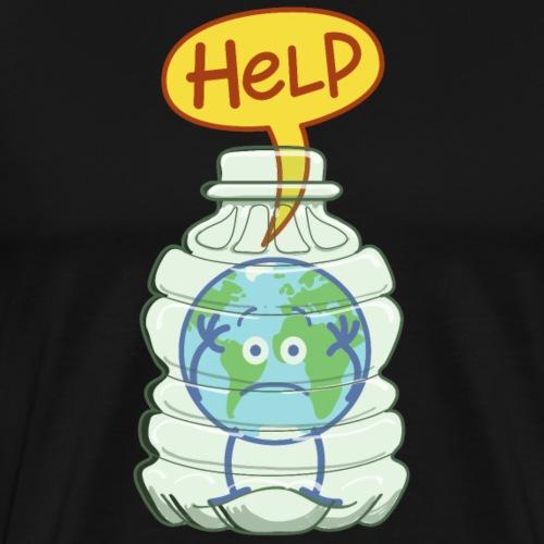 Earth inside a plastic bottle asking for help - Men's Premium T-Shirt