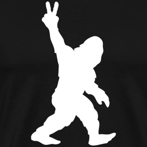 Bigfoot Sasquatch Yeti Peace Sign Silhouette - Men's Premium T-Shirt