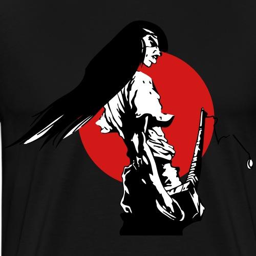 Samurai & red moon - Men's Premium T-Shirt