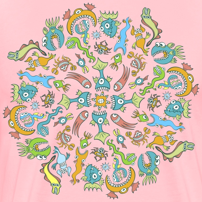 Sea animals eating each other in a mandala design