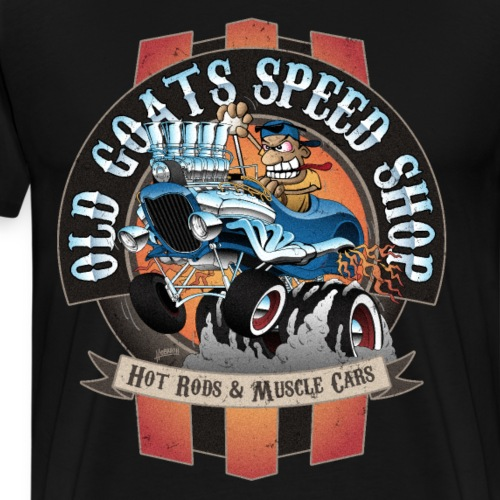 Old Goats Speed Shop Vintage Car Sign Cartoon - Men's Premium T-Shirt