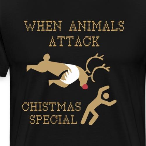 When Animals Attacks, Funny Xmas Reindeer Attack - Men's Premium T-Shirt