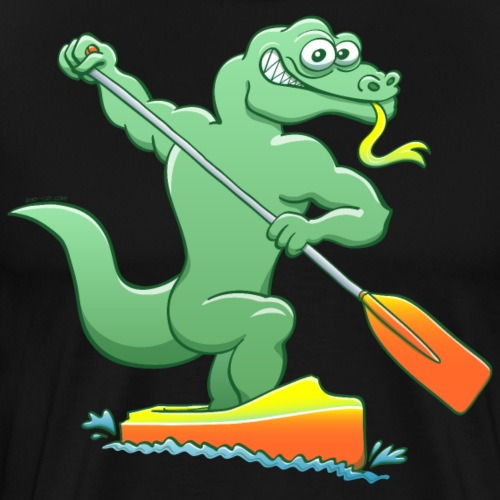 Water Monitor Competing in a Canoe Sprint Event - Men's Premium T-Shirt