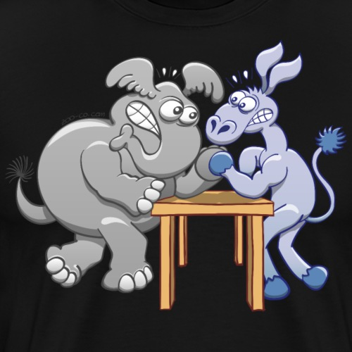 Arm Wrestling Donkey vs Elephant - Men's Premium T-Shirt