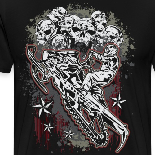 Snowmobile Skull Bunch - Men's Premium T-Shirt