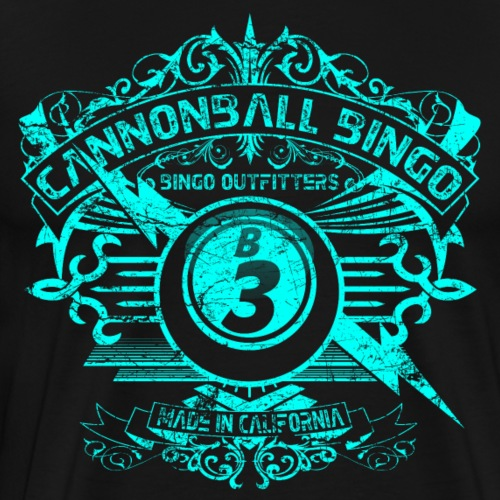 Vintage Cannonball Bingo Crest Bright Blue - Men's Premium T-Shirt