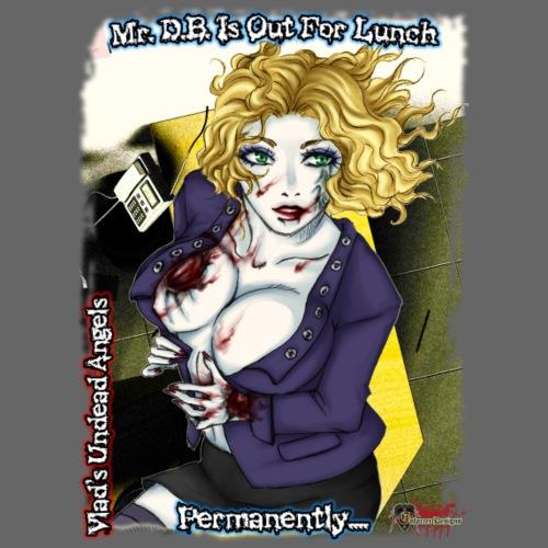 Zombie Secretary Jennifer CloseUp Background - Men's Premium T-Shirt