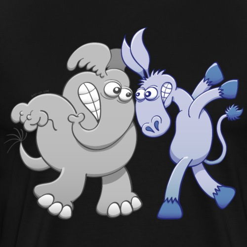 Elephant and Donkey Face to Face - Men's Premium T-Shirt