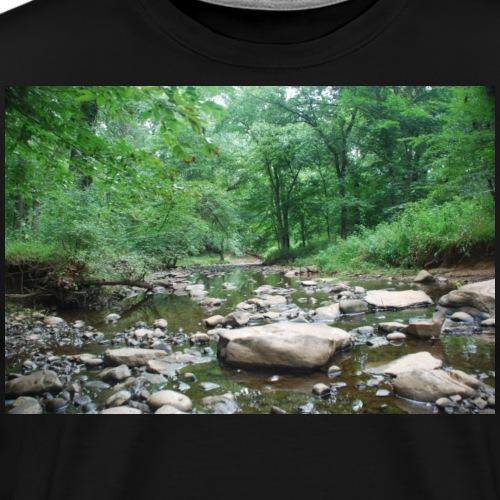 Green Forest River Nature Photo - Men's Premium T-Shirt
