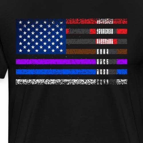 BJJ Brazilian Jiu-jitsu American flag by BJJ belt - Men's Premium T-Shirt