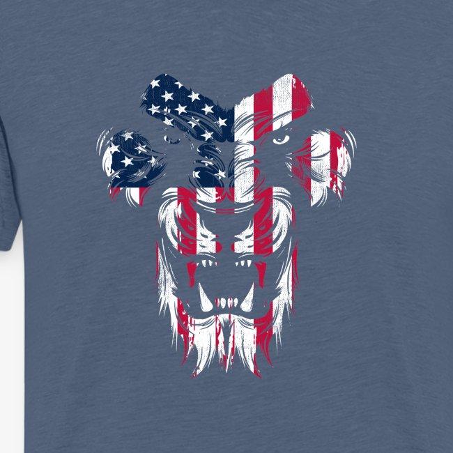 Lovely American Lion USA Flag Silhouette Portrait
