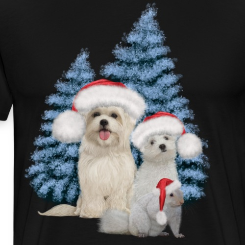 Christmas, cute dog and squirrel