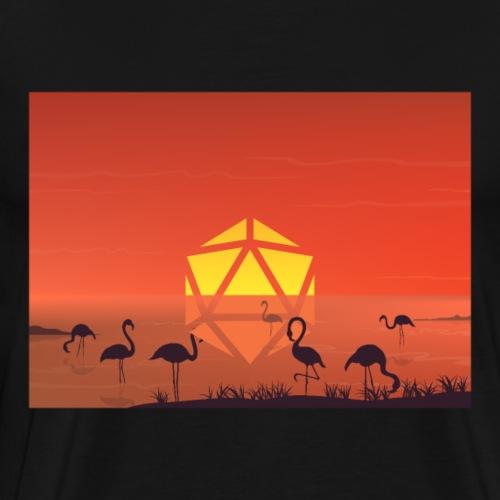 Pelican Pond Sunset D20 Dice Moon RPG Landscape - Men's Premium T-Shirt