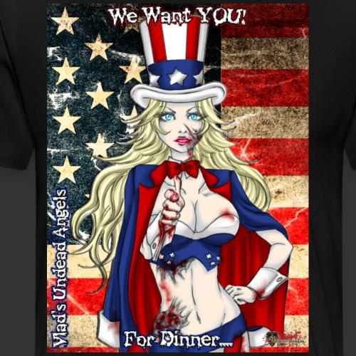 Undead Angels Classics: Zombie Patriotic Samantha - Men's Premium T-Shirt